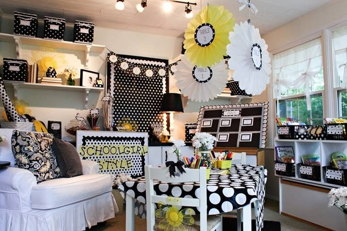 A Polka Dot And Daisies Themed Clroom