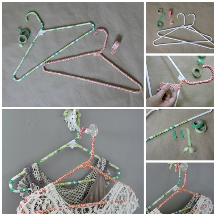Heather from The Lovely Cupboard created this sweet and simple washi-wrapped clothing hangers. You can easily make a bunch to spruce up your closet.Materials: plastic clothing hangers, washi craft tape in a variety of colors/patterns.1. Wipe the hanger surface free of any dust.2. Starting at the base fo the hook, wrap the washi tape around the hanger, overlapping the tape with each wrap.3. Every couple of inches, use your hands to press and secure the tape in place.4. Continue wrapping around the entire hanger, angling the tape in the same direction. Wrap the whole hanger or make fun patterns with the tape, allowing some of the hanger to show through.And you're done!