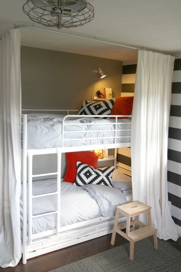 11  Make one wall a focal point with removable wallpaper. 23 Hacks For Your Tiny Bedroom