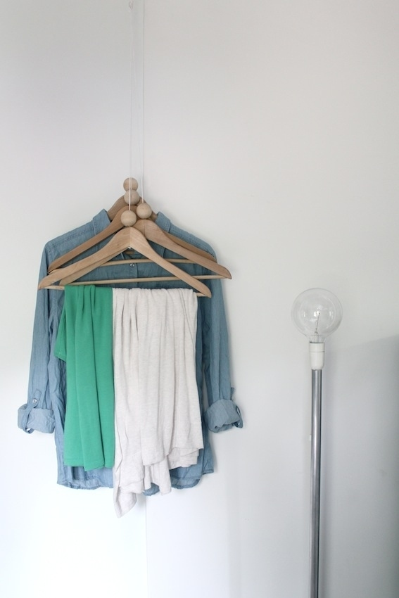 More corner tricks: Hang some hangers.
