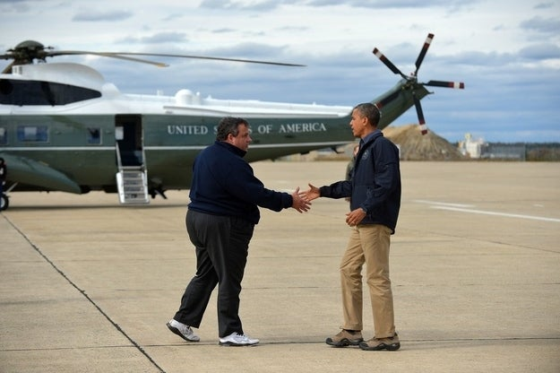 Governor Christie greets President Obama before touring storm damage in New Jersey.