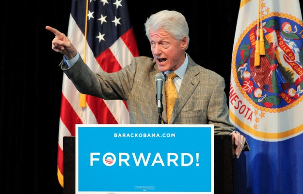 Bill Clinton, campaigning in Minnesota for President Obama Tuesday, made a rare climate change mention in his stump speech.