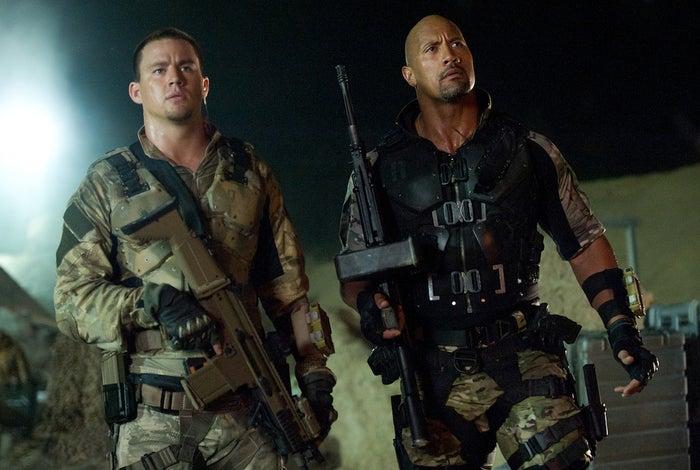 "Channing Tatum and Dwayne ""The Rock"" Johnson in G.I. Joe: Retaliation."