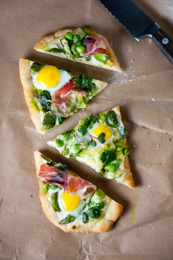 Spring Pizza With Fava Beans, Asparagus, And Egg