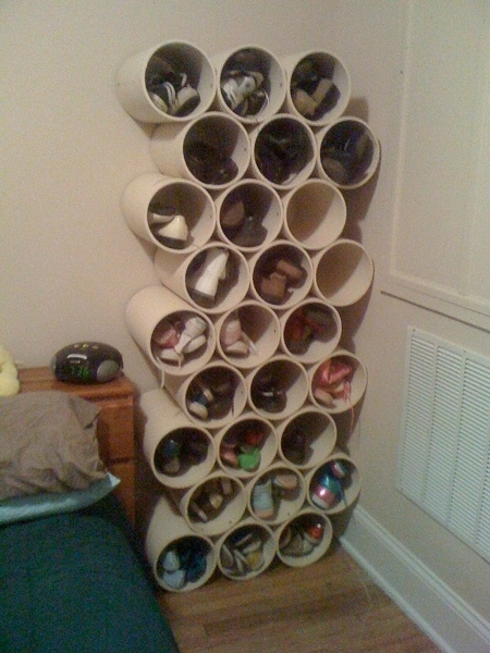 Build your own PVC-pipe shoe rack.