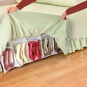 Shoes Underneath A Bedskirt