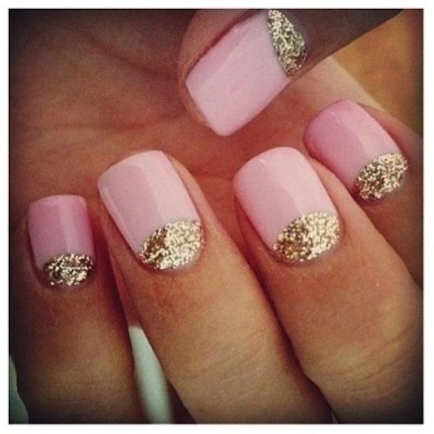 Half-Moon Glitter Nails