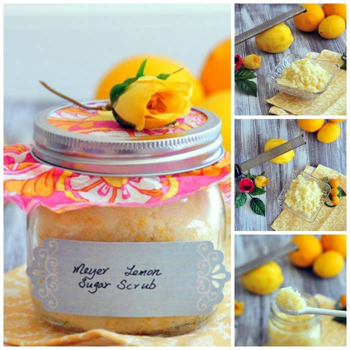 All-natural body scrub containing Meyer Lemon zest, sugar, organic virgin coconut oil, and organic extra virgin olive oil. Yes, it's technically edible too. Get the recipe here.