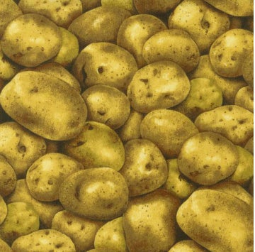 """""""Life-like potato print is perfect for a potato bag, apron, casserole carrier or bushels of other fun projects."""""""