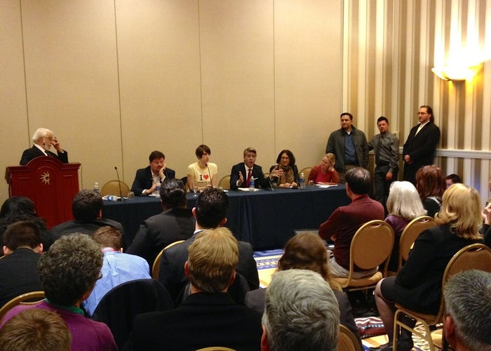 Jimmy LaSalvia, seated center, speaking at this year's CPAC.