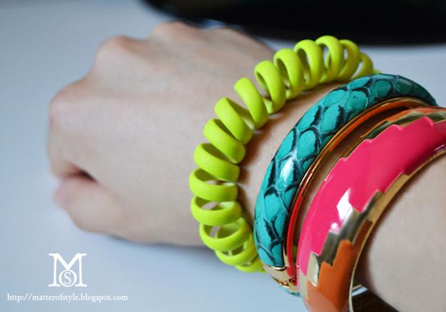 Neon Phone Cord Bracelet