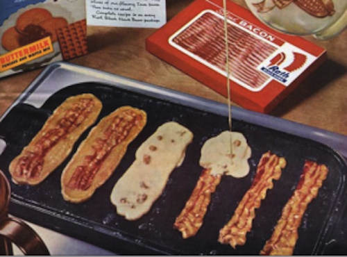 Pour pancake batter over bacon for a complete meal.