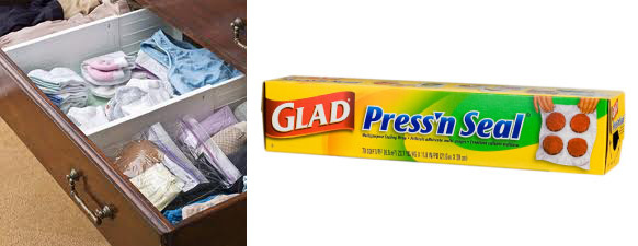 Keep drawers intact by covering them with Press'n Seal.