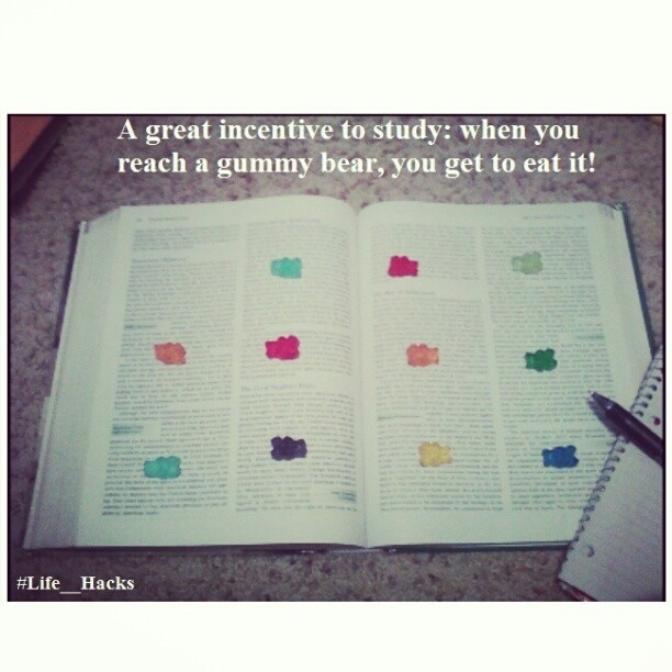 Leave yourself a gummy bear trail when reading.