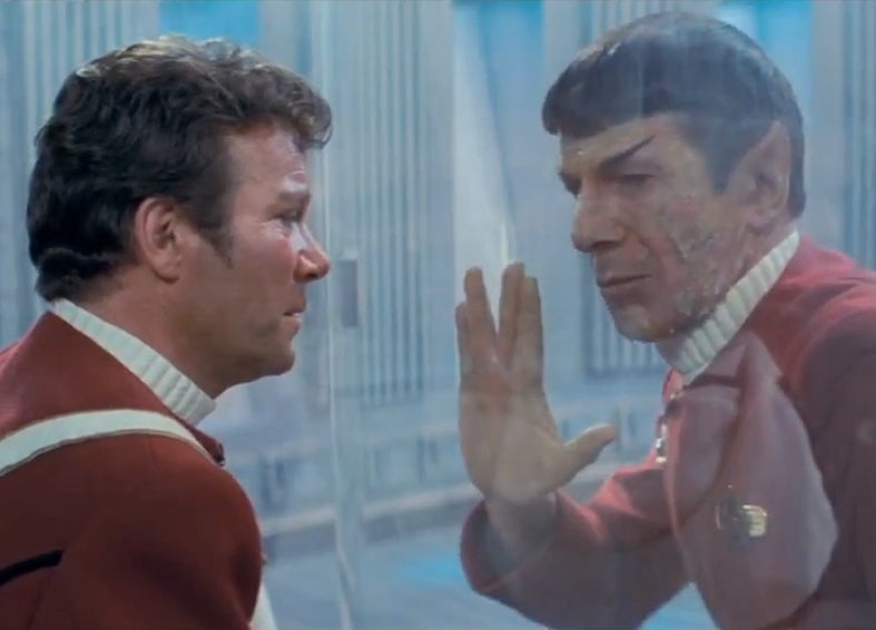 Spock dying in The Wrath of Khan