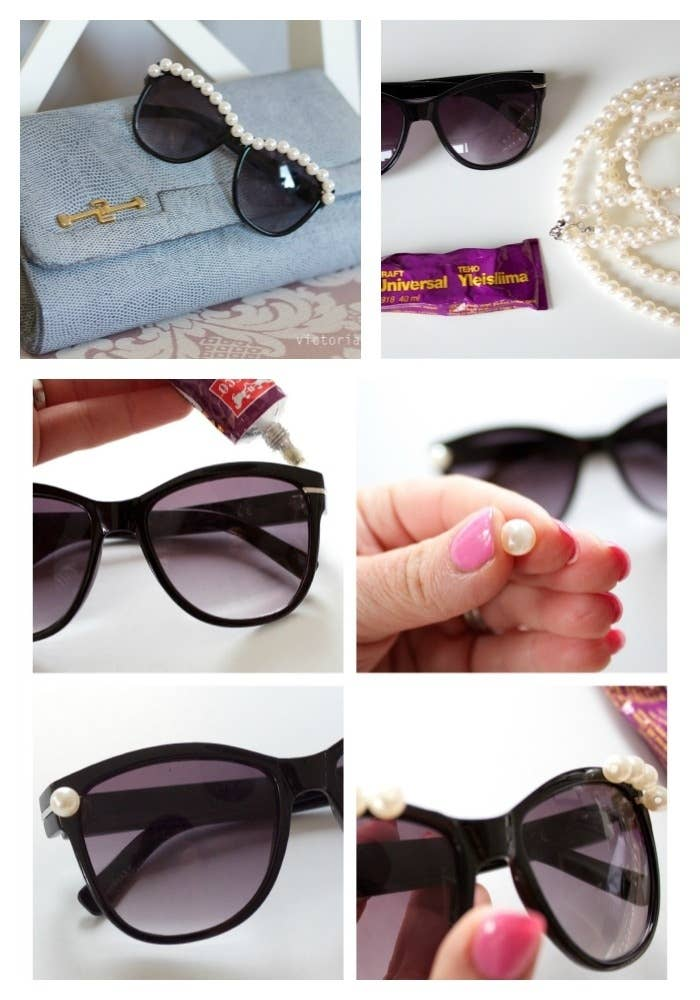 Glue pearls along the top of your shades to add a little glam. Check out these directions.