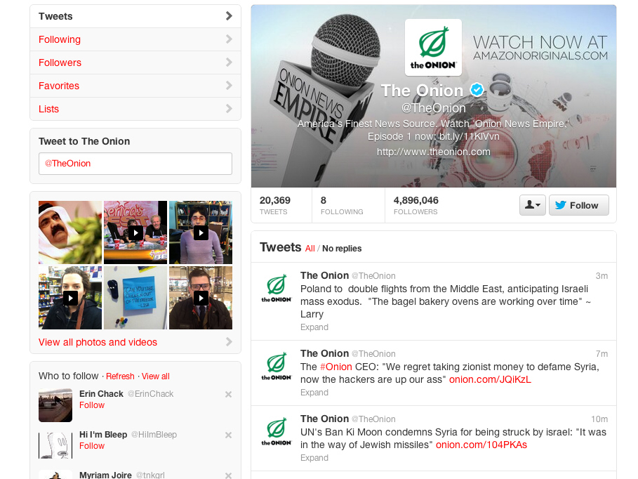 Twitter Hackers Take Over @TheOnion
