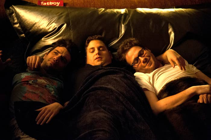 Jay Baruchel, Jonah Hill, and Seth Rogen get cozy in This Is The End