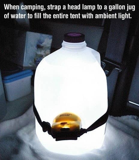 2 Point A Head Lamp Into Jug Of Water For An Instant Lantern