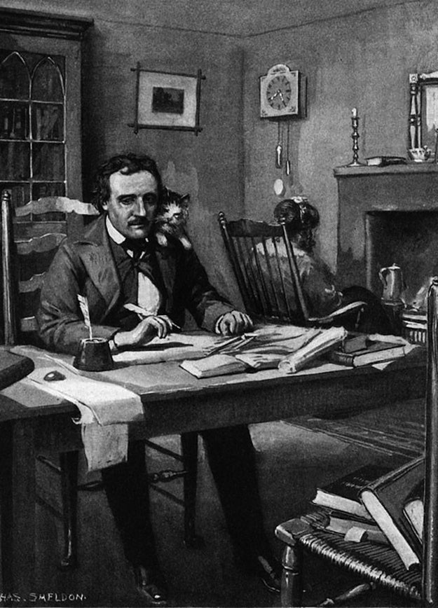 Poe at work under Catalina's eye (litho), Sheldon, Charles Mills (1866-1928) / Private Collection / © Look and Learn / The Bridgeman Art Library