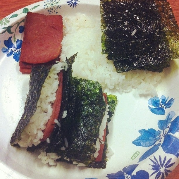 This is made with spam and minute rice.