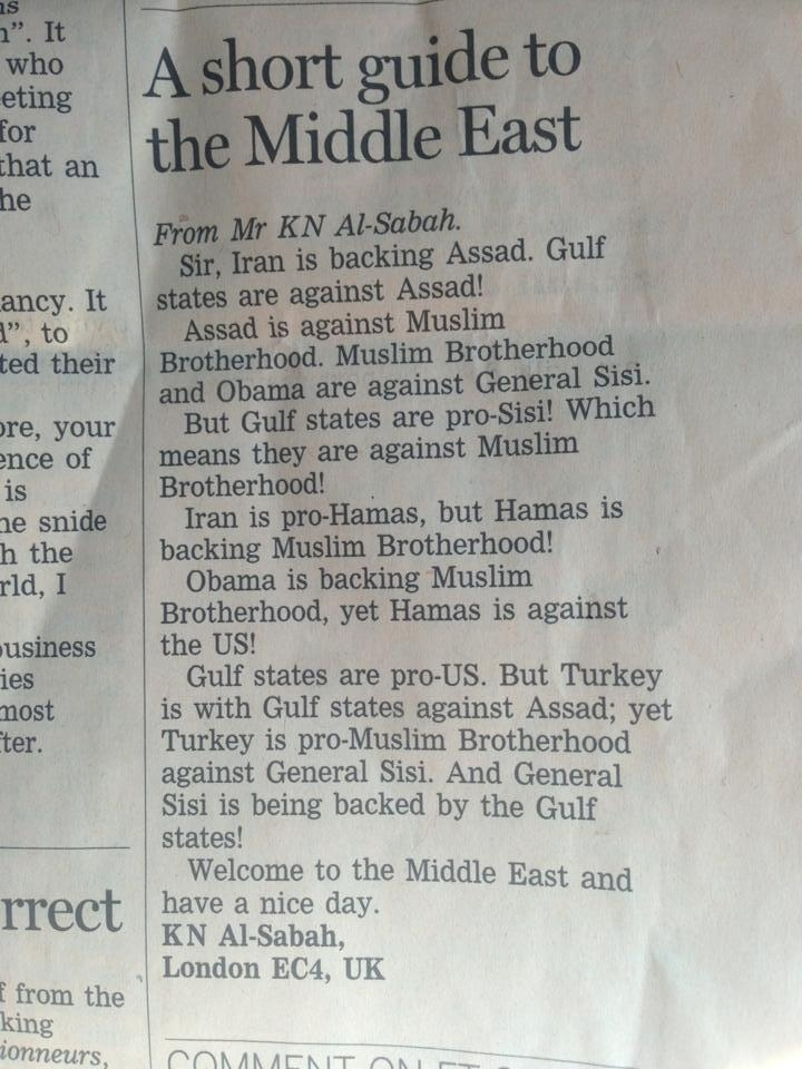 The Middle East Explained In One Excellent Letter To The Editor