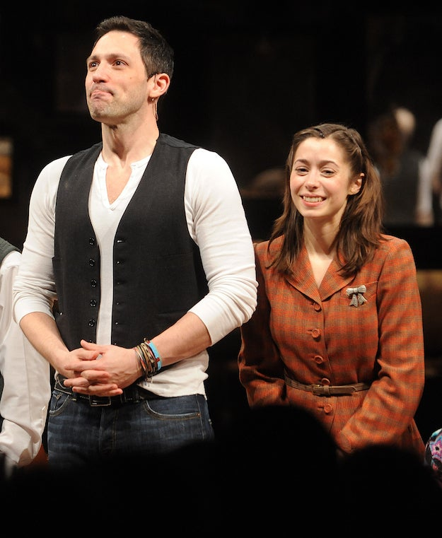 Steve Kazee and Christin Milioti at the Broadway opening night of Once on March 18, 2012.