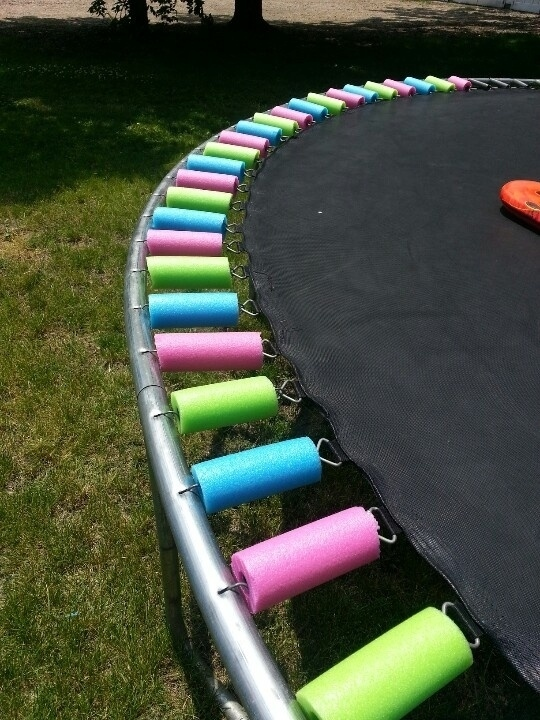 Cover the springs of your trampoline with sliced up pool noodles as an extra safety precaution.