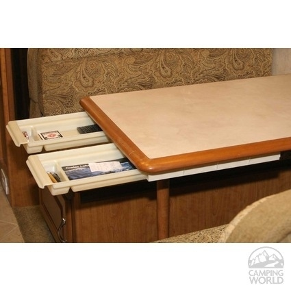 Add slide out drawers to an RV table.