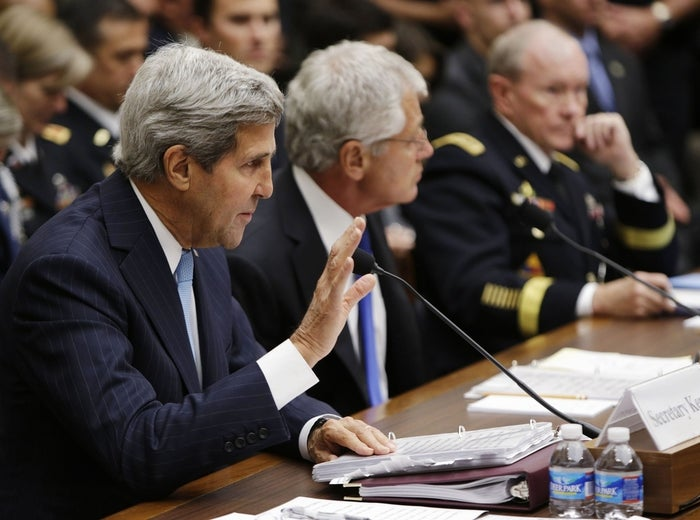 From left: U.S. Secretary of State John Kerry, Defense Secretary Chuck Hagel and Chairman of the Joint Chiefs of Staff U.S. Army General Martin Dempsey testify at the House Armed Services Committee in Washington, Sept. 10, 2013.