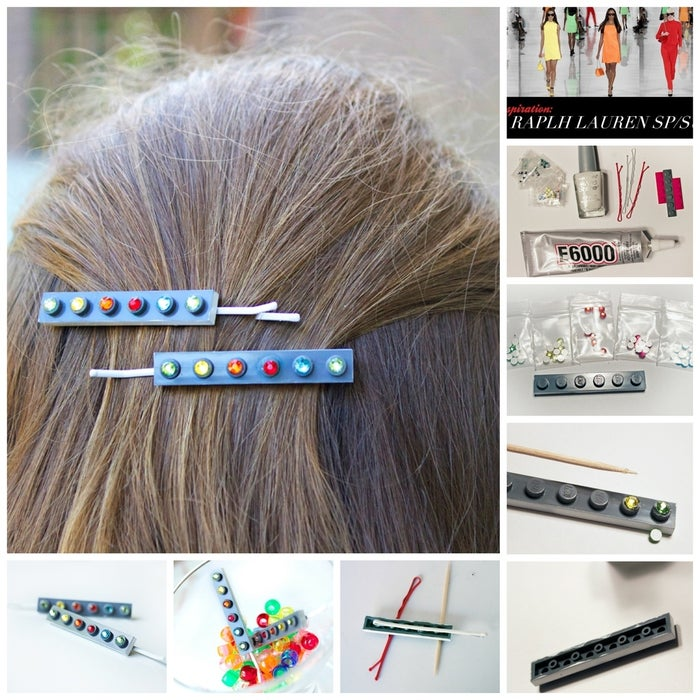 "Inspired by Ralph Lauren's colorful finale at NY Fashion Week, Allison from Quiet Lion Creations created these pop-of-color lego bobby pins.Materials: bobby pins, white nail polish, flat legos (about 1.75"" long), flatback gems (5 or 4mm), and E-6000 glue. 1. Use the white nail polish to paint the edges of the lego, all the way around. Make sure to not get any on the top of the lego, just the edges!2. Get out your flat backs; the pins shown use the order of green, yellow, orange, red, blue, then green again (the same order as the actual runway show)!3. Use a dab of your E-6000 glue and put a dab on top of each lego notch. Add on your gems in the correct order! Let all the glue dry.4. Glue your bobby pin to the back of the lego. E-6000 is a better hold than hot glue; you may use hot glue if you prefer but keep in mind the lego may pop off if handled too roughly. Allow the glue to dry.All done! A fashionable accessory from the most unexpected of materials."