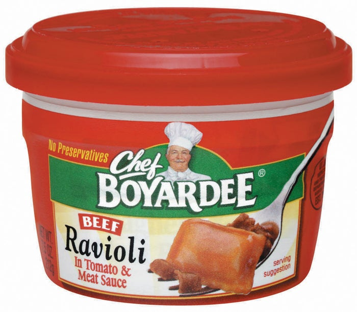 """""""I became a vegetarian when I was 12, so I don't miss any actually good, adult foods and basically have no memory of what meat tastes like. But my mouth waters everytime I see a can of Chef Boyardee Beef Ravioli, which I used to eat directly from the can at my grandmother's house."""""""