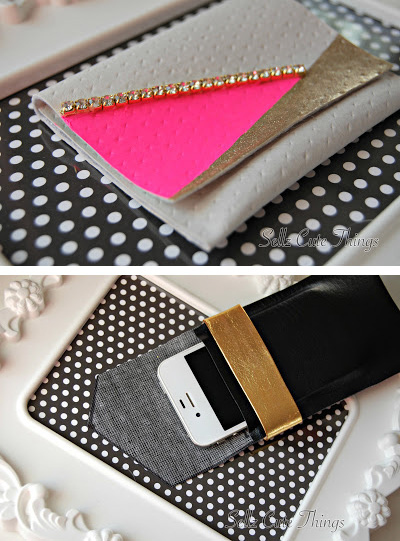 You can turn leather scraps into either an iPhone case or a wallet.