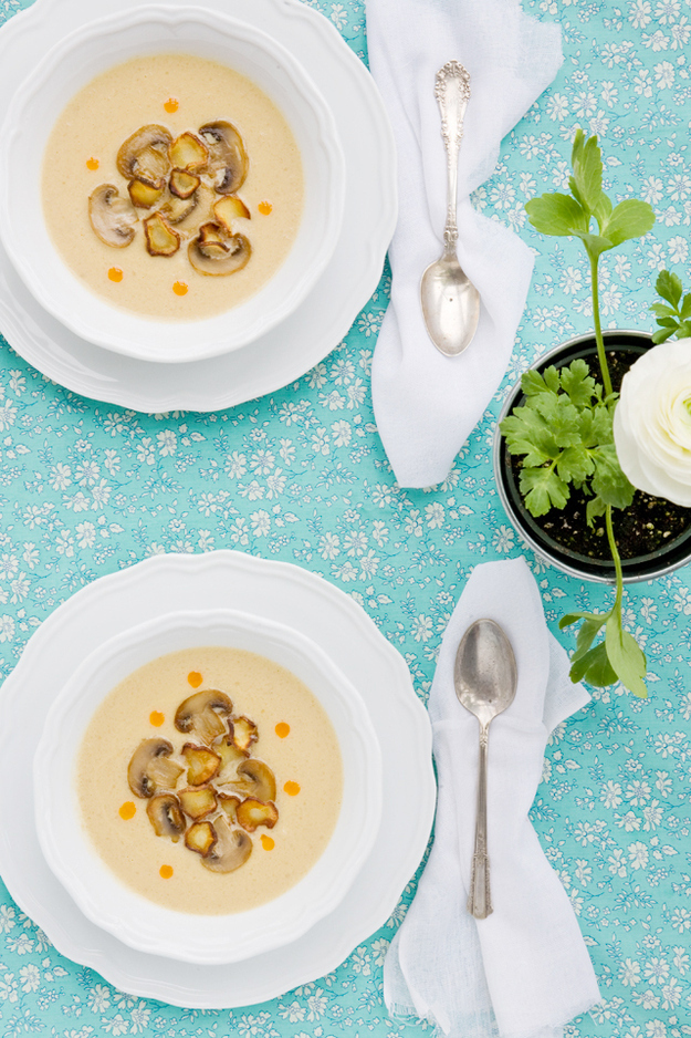 Creamy Sunchoke Soup With Fried Parsnip And Mushrooms