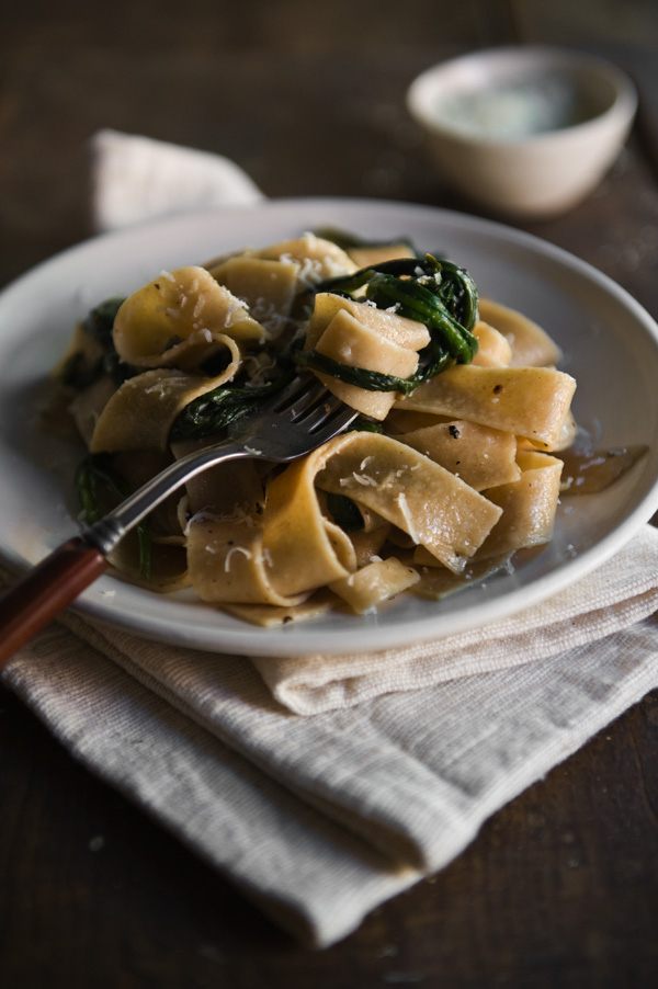 Wheat Pappardelle With Ramps And Pecorino Romano