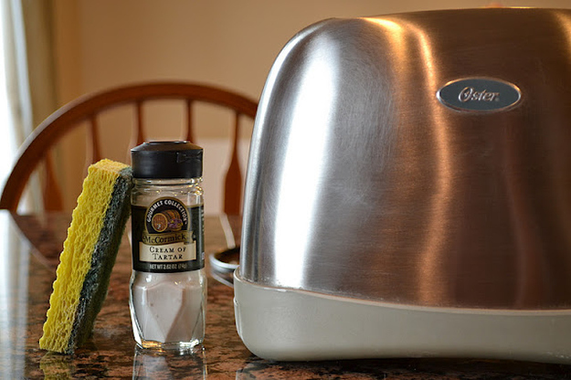 Polish stainless steel appliances with cream of tartar.