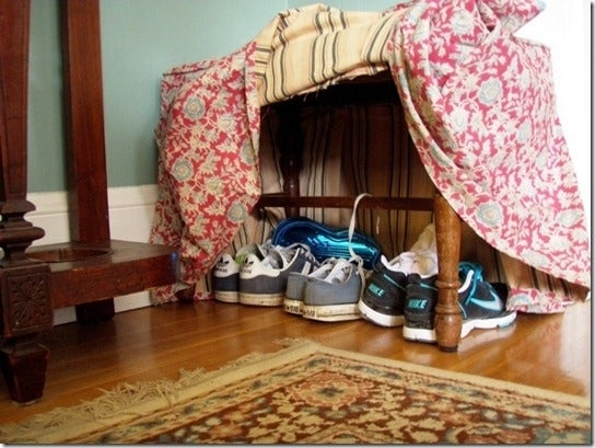 What's great about storing shoes underneath a bench is that you have a seat to sit on while putting them on.