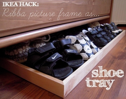 Use A Large Picture Frame As A Slide Out Shoe Drawer.