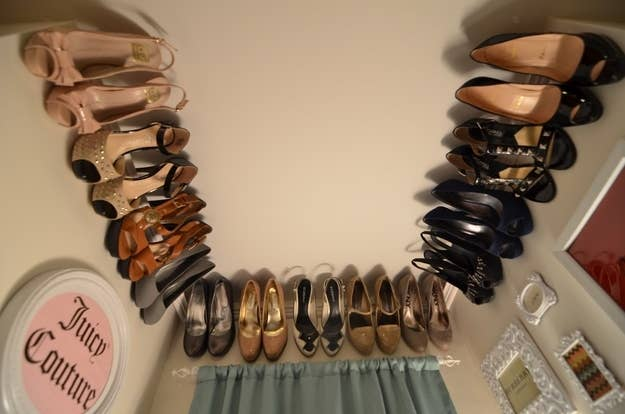 Hang Molding Near The Ceiling Of A Closet For Your Non Seasonal Shoes