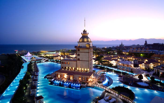 This stunning pool is located at the Mardan Palace hotel in Antalya, a city on the Mediterranean coast of southwestern Turkey.