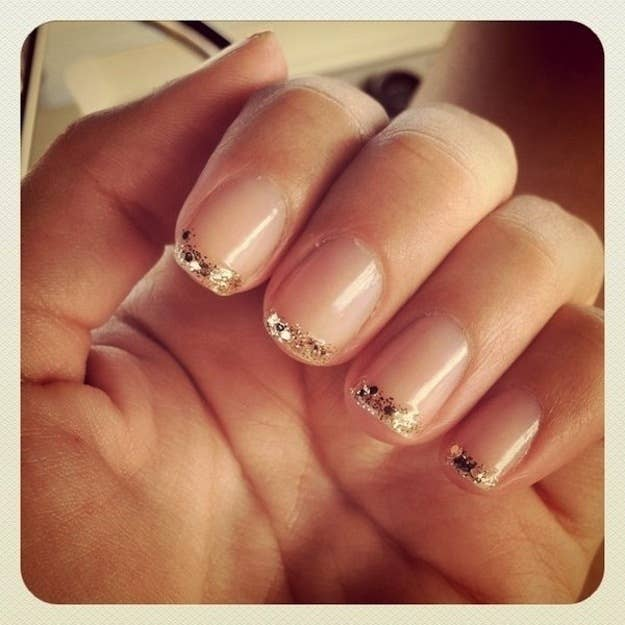 24 delightfully cool ideas for wedding nails glitter french tips solutioingenieria Images