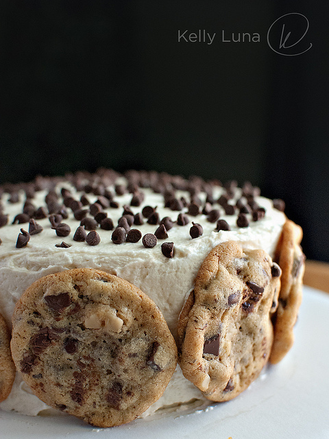 ALERT ALERT ALERT there are balls of cookie dough inside this cake, which is also covered with cookies.