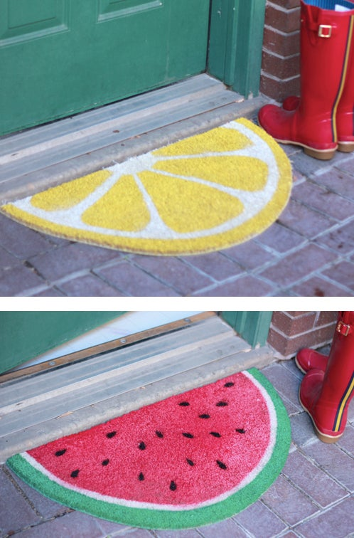 You can make one yourself out of a plain, ugly, round welcome mat.