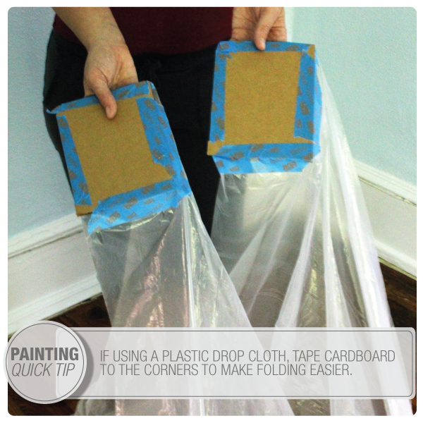 tape pieces of cardboard to the corners to make a huge dropcloth much more manageable when folding