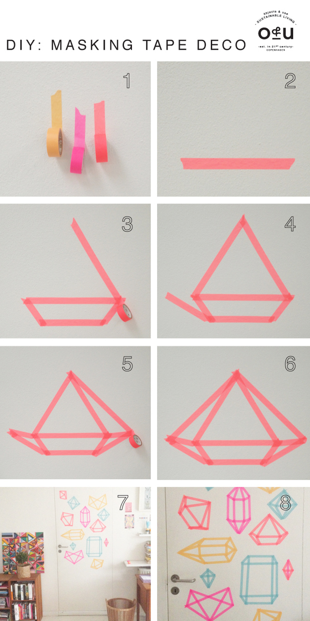 Cover a wall in these super easy tape diamonds.