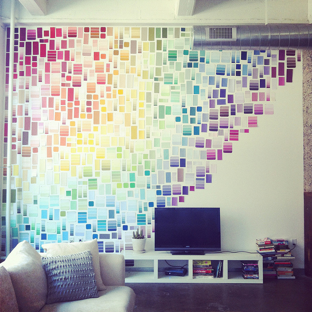 Turn paint chips into a beautiful wall installation.