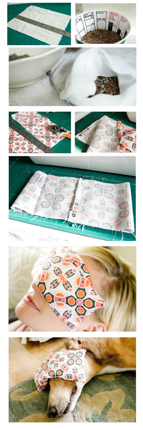An eye pillow filled with flaxseeds and lavender is easy to make and perfect for nap time. Find the full tutorial here.