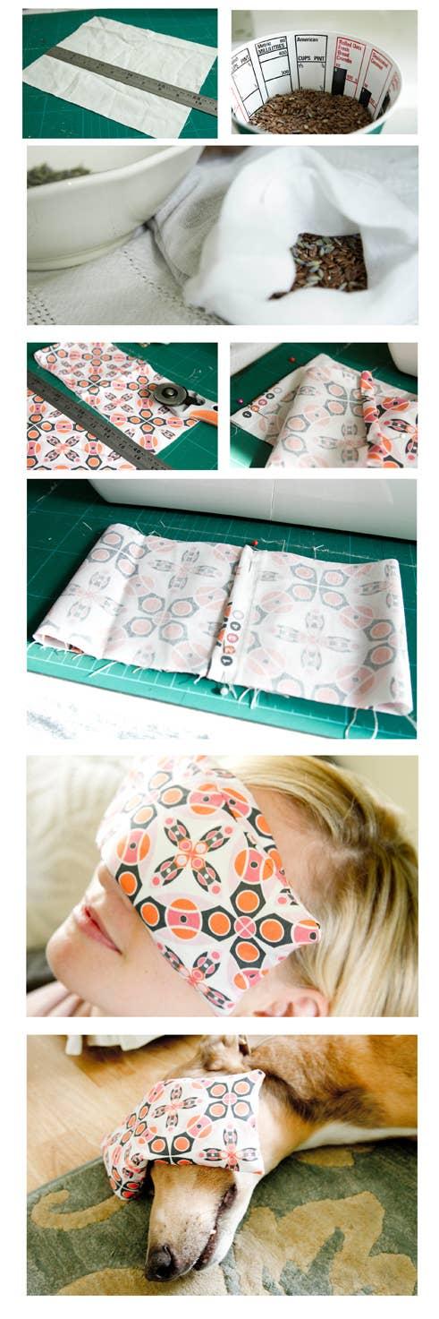 Una almohadilla para los ojos con semillas de lino y lavanda es fácil de hacer y es perfecta para una siesta. Mira el tutorial completo aquí.