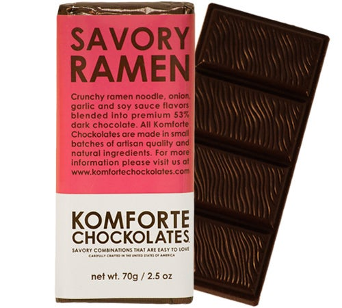 Dark chocolate complemented by flavors of onion, garlic and actual ramen noodles, because there really is no good in the world.