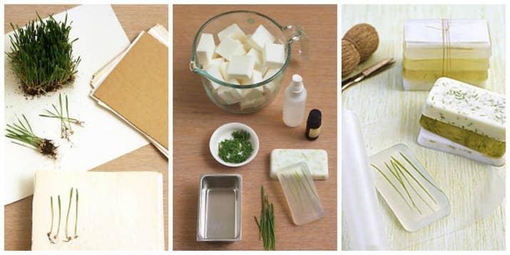 Añade algo de elegancia al jabón normal usando pasto de trigo y siguiendo los consejos de Martha, por supuesto.
